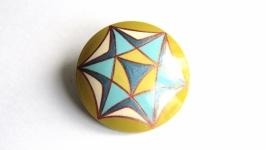 Брошь ′Утренняя звезда′ с ручной росписью