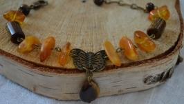 Браслет с янтарем и тигровым глазом ′Янтарная бабочка′