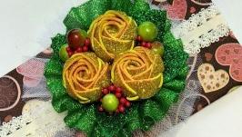 Новогодние повязки с цветами  №6