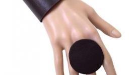 Комплект из натуральной кожи круглое безразмерное кольцо и браслет