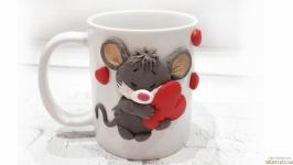 Новогодняя кружка с декором символ 2020 года мышка подарок на Новый год