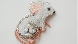 Брошь (брелок) ′White mouse′