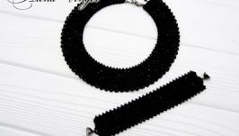 Комплект ′Ночь′ колье браслет хрусталь черный