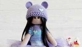 Вязаная кукла Тильда мишка, Кукла текстильная интерьерная