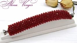 Браслет ′Бордо′ хрусталь красный