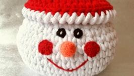 Святковий кошик з кришкою ′Сніговик′ 20х20 см