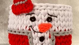 Святковий кошик без кришки ′Сніговик′ (Корзина)15х17 см