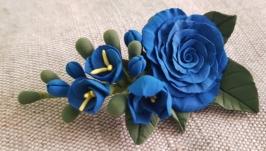 Заколка-брош ′Сині троянди′
