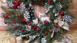 Новогодний рождественский венок подсвечник новорічний різдвяний вінок