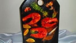 Сервировочная, сырная доска ′Закуски′,декор для кухни,полезный подаро