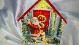 Большая вешалка -домик ′Дед Мороз′ в детскую,ключница, подарок