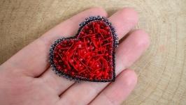 Брошь сердце сердечко чешский бисер ручная работа