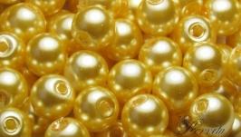 Жемчуг стеклянный светлое золото 6 мм