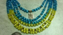 Синьо-жовте намисто ′Україна′ з тризубом