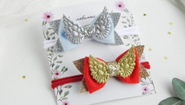 Повязка с крыльями для малышки  Красивая повязочка для девочки