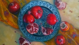 Oil painting ′Grenades on a blue dish′.