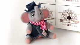 Валяная игрушка  ′слон бродяжка′