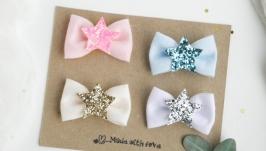 Заколки бантики с крылышками для девочки  Заколочки подарок для малышки