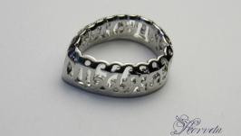 Ажурная оправа для риволи капля′ серебро 10х14 мм