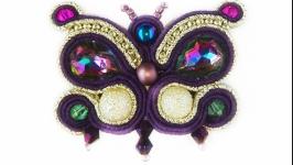 Брошь-бабочка фиолетовая