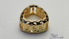 Ажурная оправа для риволи ′триллион′ золото 12 мм