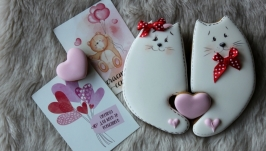 Закохані котики. Пряники до дня закоханих.