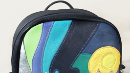 Кожаный рюкзак Северное сияние