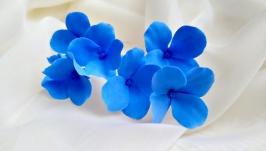 Шпильки для волосся з синьою гортензією(японська полімерна глина deco clay)