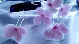 Шпильки для волосся з квітами рожевої гортензії