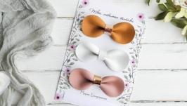 Заколки для девочки  Резинки для малышки  Стильные кожаные детские бантики