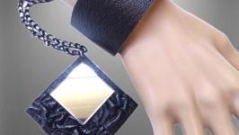 Черный кожаный комплект, подвеска с зеркалом и браслет