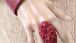 Красный набор, браслет и жатое кольцо из натуральной кожи