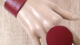 Красный набор, браслет и кольцо из натуральной кожи