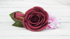 Заколка автомат с бордовыми цветами девушке  Гребешок цветочный для невест