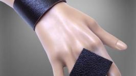 Ченрый набор, браслет и кольцо из натуральной кожи