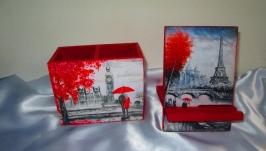 Набор ′Лондон-Париж′: карандашница (органайзер) и подставка под телефон
