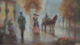 Схема картины - Дождь в городе