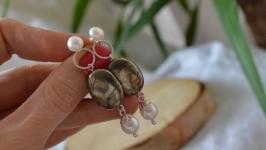 Серебряные серьги с пиритом и жемчугом ′Ольвия′