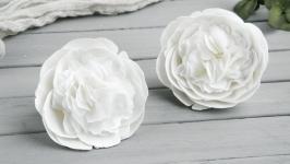 Заколка для волос с цветами Резинки белые пионы