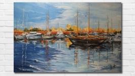 Картина маслом ′Яхт-клуб′ 40х60 см, холст на подрамнике, масло