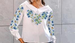 Блуза вышитая женская - Ромашки