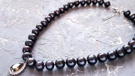 Натуральні чорні перли високого класу розкішне намисто чи кольє з перлів