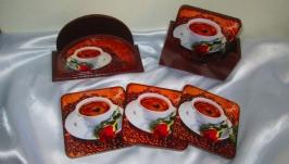 Комплект для кухни ′Арабика′:салфетница и подставки под горячее, под чашки.
