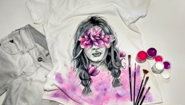 Футболка ′Девушка с орхидеями′