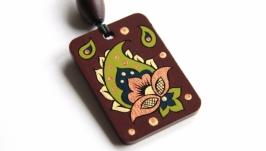 ′Пейсли′ кулон с ручной росписью