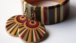 Комплект украшений ′Закатное солнце′ с ручной росписью
