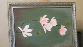 Oil painting of flowers Magnolia