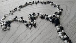 Бусы «Черный и белый агат»
