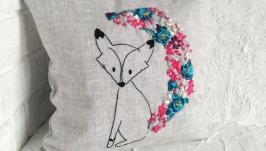 Подушка лляна з ручною вишивкою стрічками ′Лисиця′