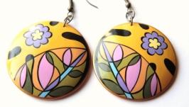 Серьги ′Цветы′ с ручной росписью